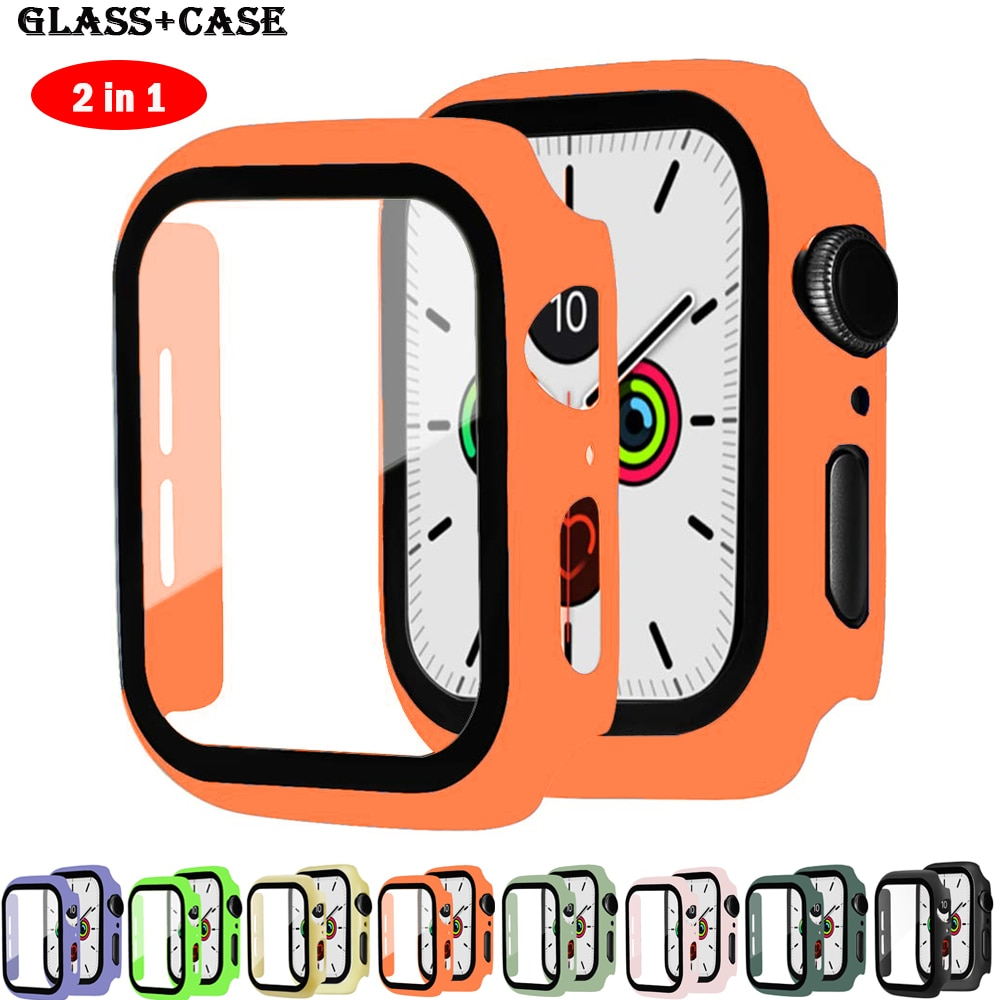 screen protector case for apple watch 5 case with glass cover for apple watch series 5 4 44mm 42mm iwatch 3 2 1 42mm protector Glass+cover For Apple Watch Case 44mm 40mm iWatch 42mm 38mm Accessories bumper Screen Protector apple watch series 6 5 4 3 2 se