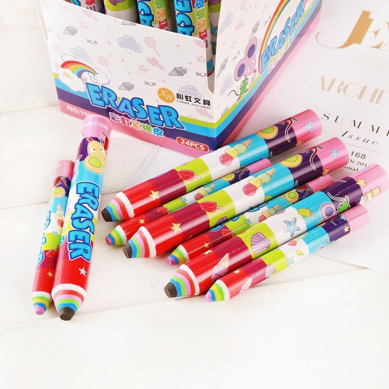 Borrador creativo con pluma de arco iris, 1 Uds., bonitos dibujos animados, papelería para estudiantes, color, oficina, escuela, niños, borrador de escritura, herramientas de dibujo