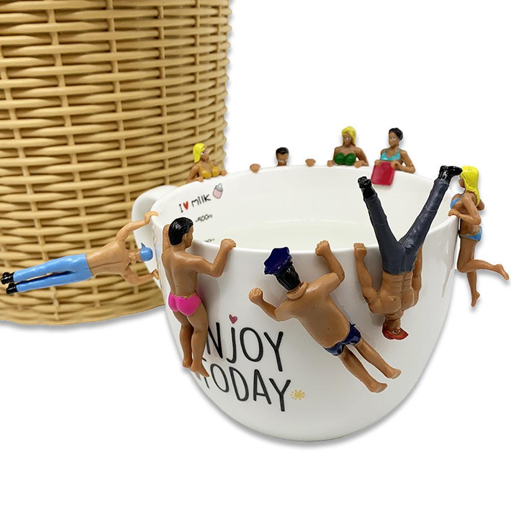 8 шт., Мини кукла с имитацией людей в купальнике, подвесные чашки, декоративная кукла, подвесные чашки, чашки для декора