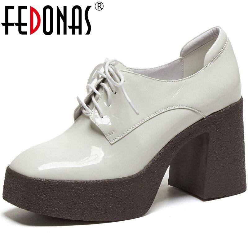 FEDONAS-حذاء نسائي مسطح بكعب عالٍ من الجلد الطبيعي ، حذاء بكعب عالٍ ، مناسب لحفلات الزفاف ، الخريف