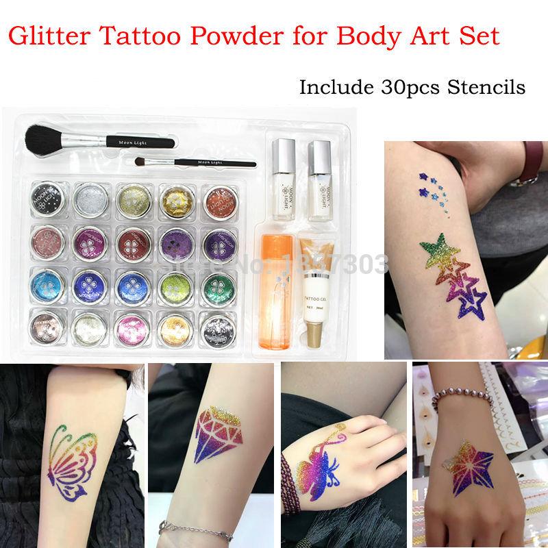 Juego de tatuajes con purpurina de 20 colores, pintura corporal con polvo/pinceles/pegamento/plantillas, Kit de tatuaje temporal, suministros de tatuajes