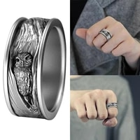 ofertas milangirl men rings new gothic punk owl carving alloy rings women biker rock hip hop vintage male rings party jewelry