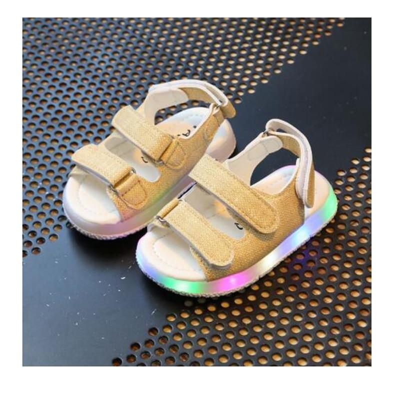 Sandalias Led brillante para niños y niñas, calzado deportivo informal ligero, zapatos planos para niños y bebés, sandalias de cuero para la playa para niños