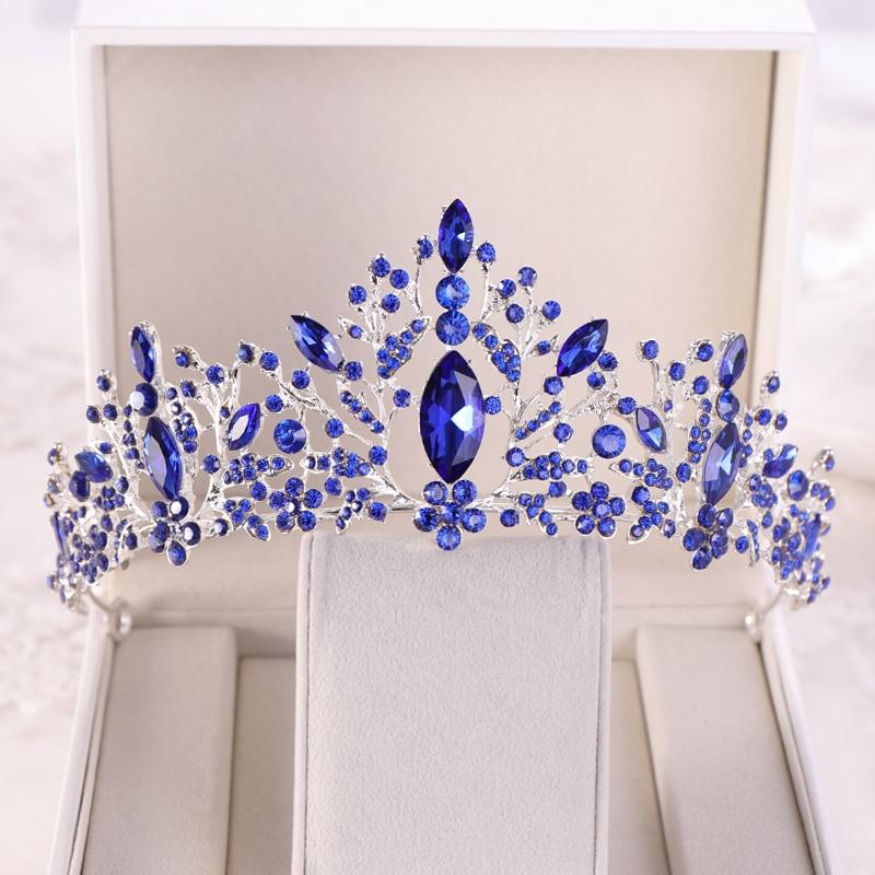 Boda corona Tiara azul barroco Diamante de imitación cristal novia corona cabeza joyería tocado nupcial accesorios para el cabello de la boda