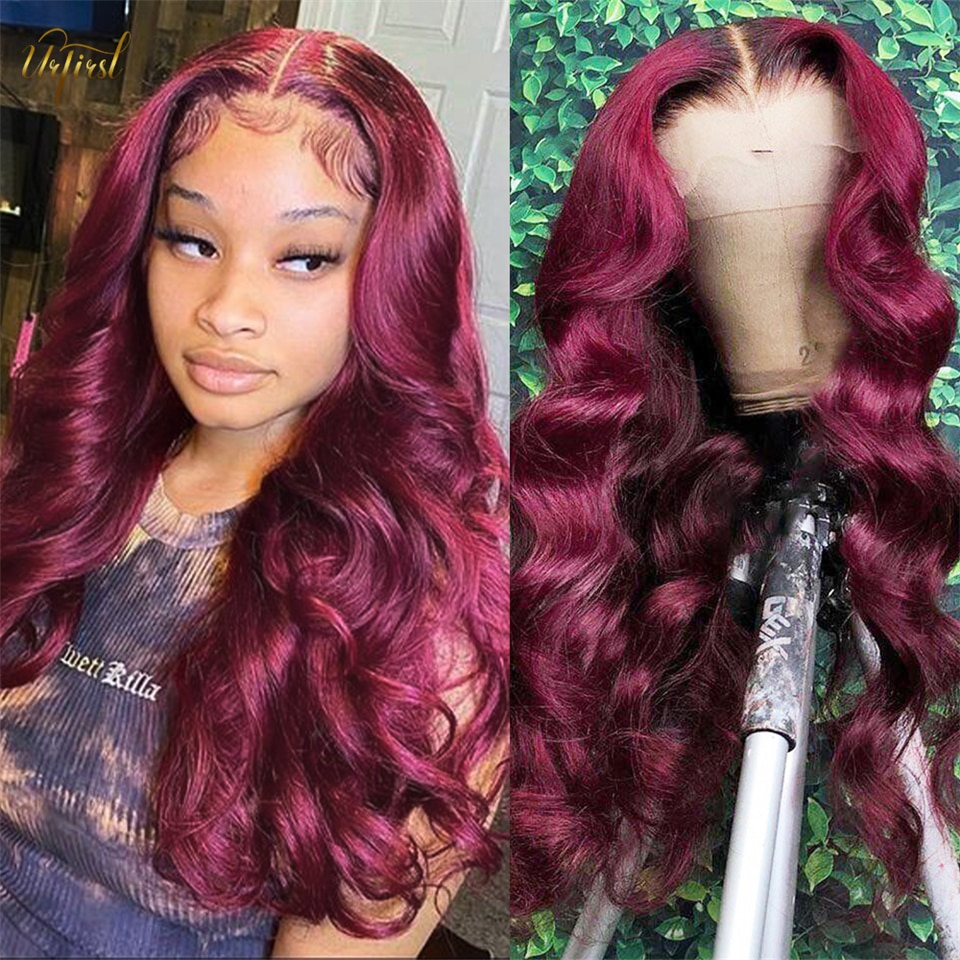 Burgundy Body Wave Wig Brazilian Transparent 13x1 Middle Part Lace Human Hair Wigs PrePlucked 99J Lace Wigs For Black Women Remy