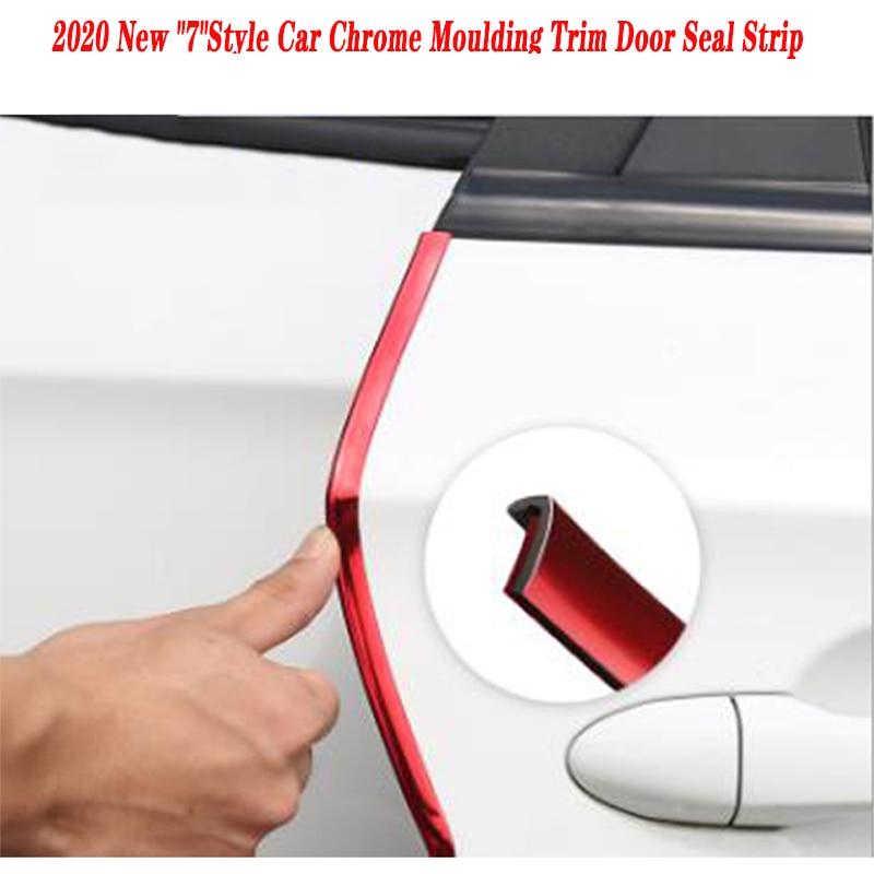 Etiqueta engomada de la tira del sello de la puerta del moldura del cromo del coche 10m para Chevrolet Cruze Aveo Captiva Lacetti TRAX Sail Epica Lada Granta calina