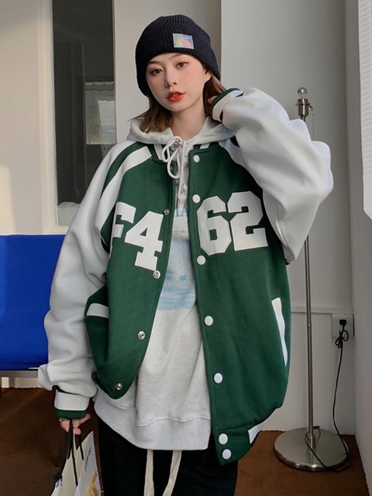 American Coat Baseball Suit Autumn Winter Korean 2021 New Design Sense Contrast Color Hooded Letter