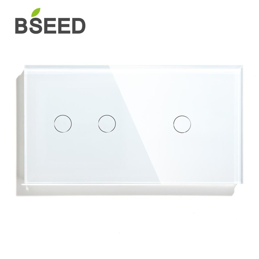 Bseed-مفتاح يعمل باللمس ، زر 1 ، 2 طريقة ، طريقة واحدة ، طريقتان ، 157 مللي متر ، لوحة إضاءة كريستالية ، أبيض ، أسود ، ذهبي