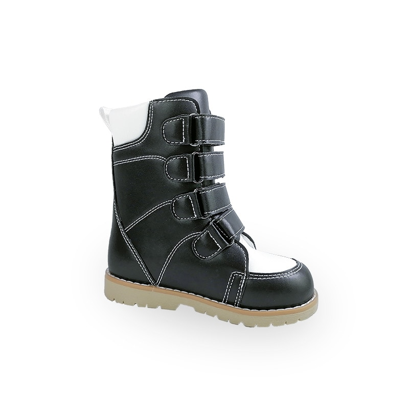 Ortoluckland Boys Leather Shoes Kids Orthopedic Calf Boots For Children Spring Clubfoot Hook Loop High Top Corrective Footwear enlarge