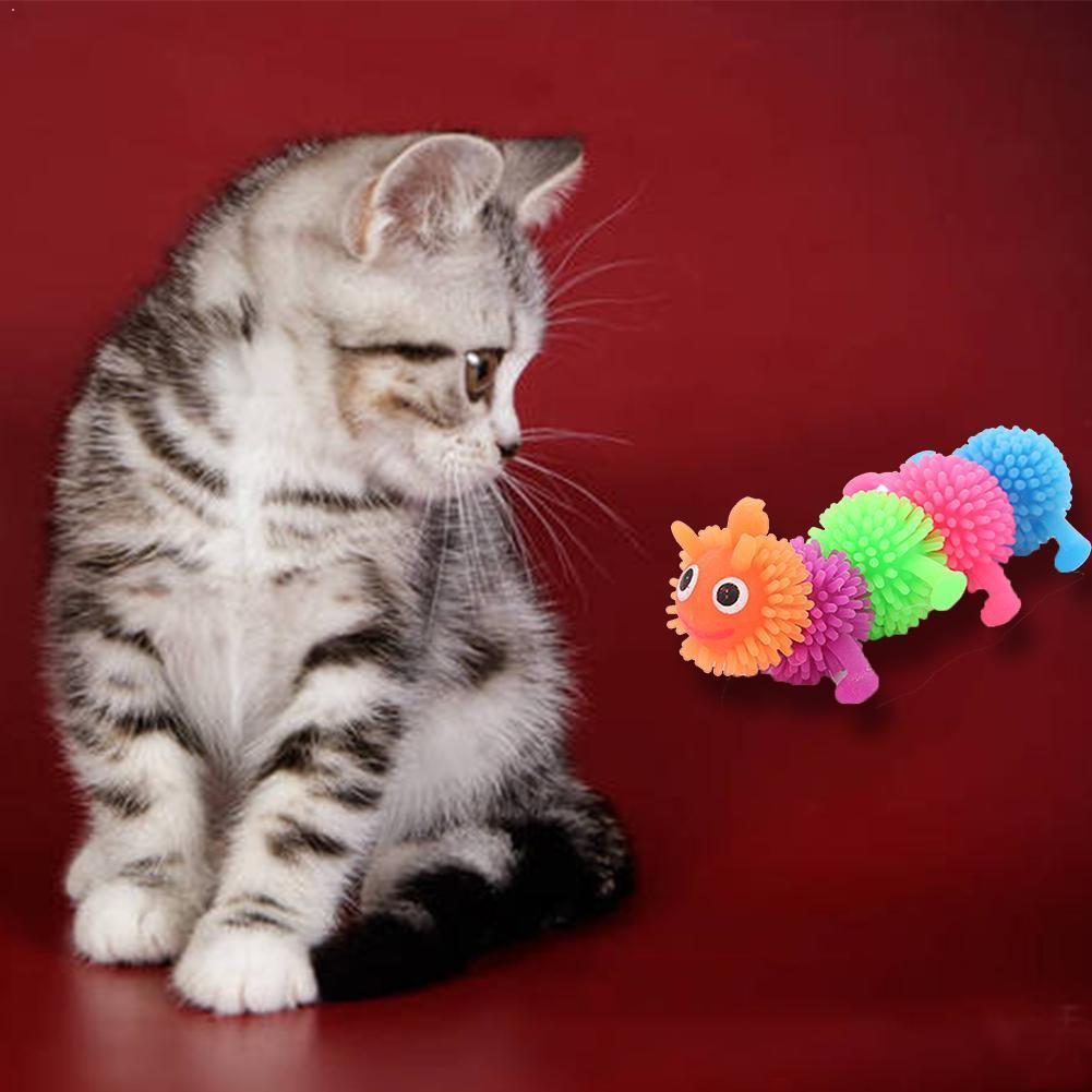 New pet cat toy TPR colorful multicolor caterpillar cat nibb K5E1
