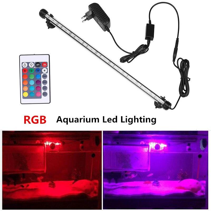 Ue eua plug rgb remoto aquário luz tanque de peixes à prova dwaterproof água 5050 smd led barra luz lâmpada aquática decoração submersível 19-49 cm