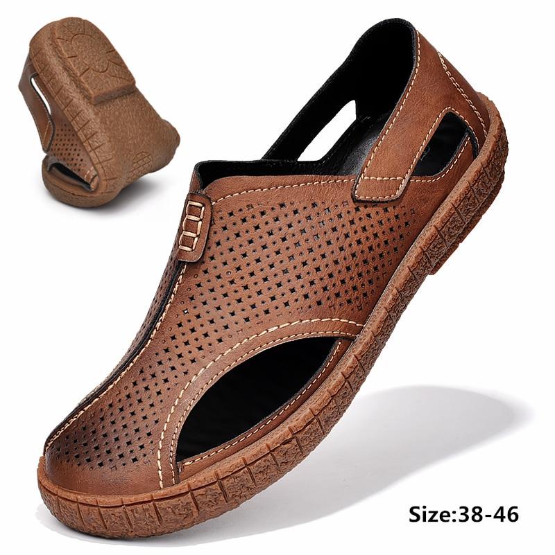 Zapatos de hombre de cuero de vaca 2020, mocasines informales antideslizantes con agujeros transpirables de verano para hombre, sandalias de hombre marrones claros y negros, tallas grandes 38-46