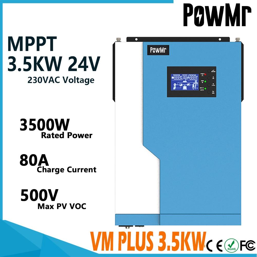 PowMr الهجين قبالة الشبكة العاكس 3500 واط جهاز تحكم يعمل بالطاقة الشمسية 24VDC إلى 230VAC نقية شرط موجة 24 فولت المدمج في MPPT 100A ماكس 500VDC PV المدخلات