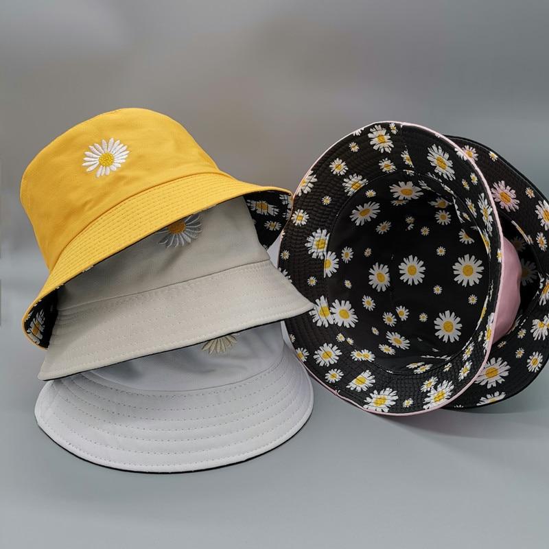 Double-sided Summer Daisies Bucket Hat Women Fashion Cotton Beach Sun Hats Reversible Femme Floral Panama Hat Fisherman Hat недорого