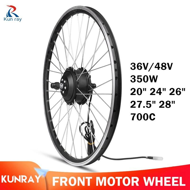 Kunray Ebike Front Motor Wheel 36V-48V 350W Electric Bike Conversion Kit 20 24 26 28 700C E-Bike Gear Motor Front Wheel