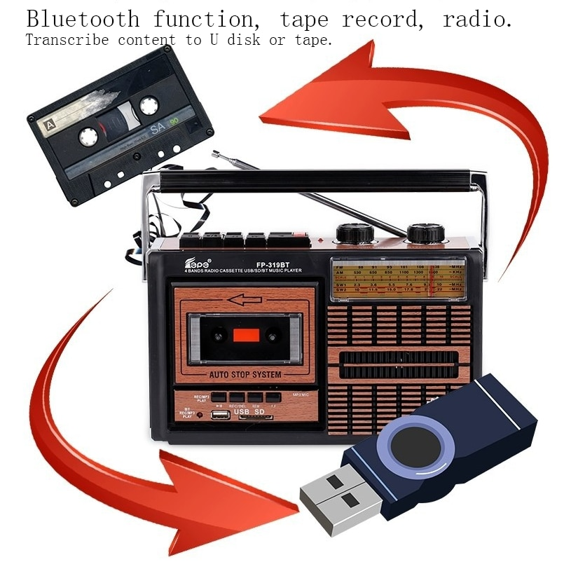 FM سمّاعات بلوتوث AM SW1-2 4 الفرقة ريترو راديو سماعات محمولة العتيقة مسجل شرائط TF بطاقة راديو في الهواء الطلق الموسيقى سماعات