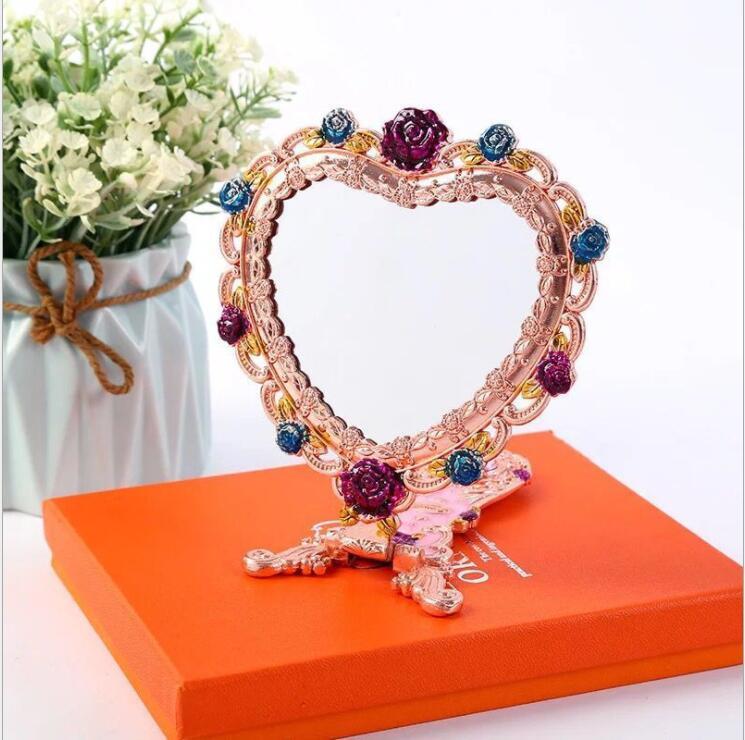 Espelho de Metal em Forma de Coração Espelho de Mão de Metal com Caixa de Presente Espelho de Ouro Decorativo para Meninas Criativo J046