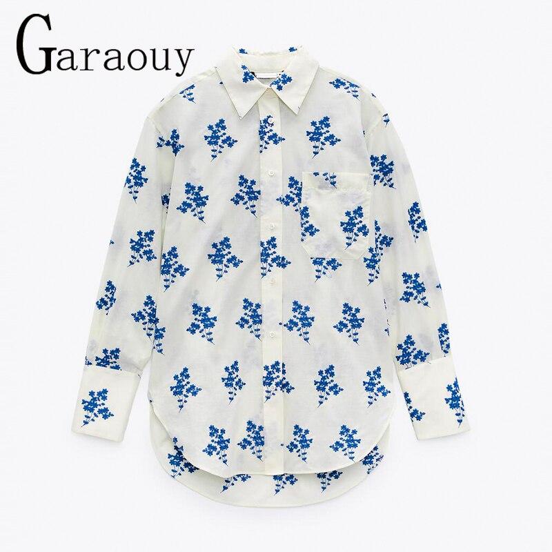 Za 2021 الصيف مطرزة جيب قميص الإناث طويلة الأكمام زر بلوزة امرأة الموضة عودة غير المتماثلة بلوزات بيضاء غير رسمية