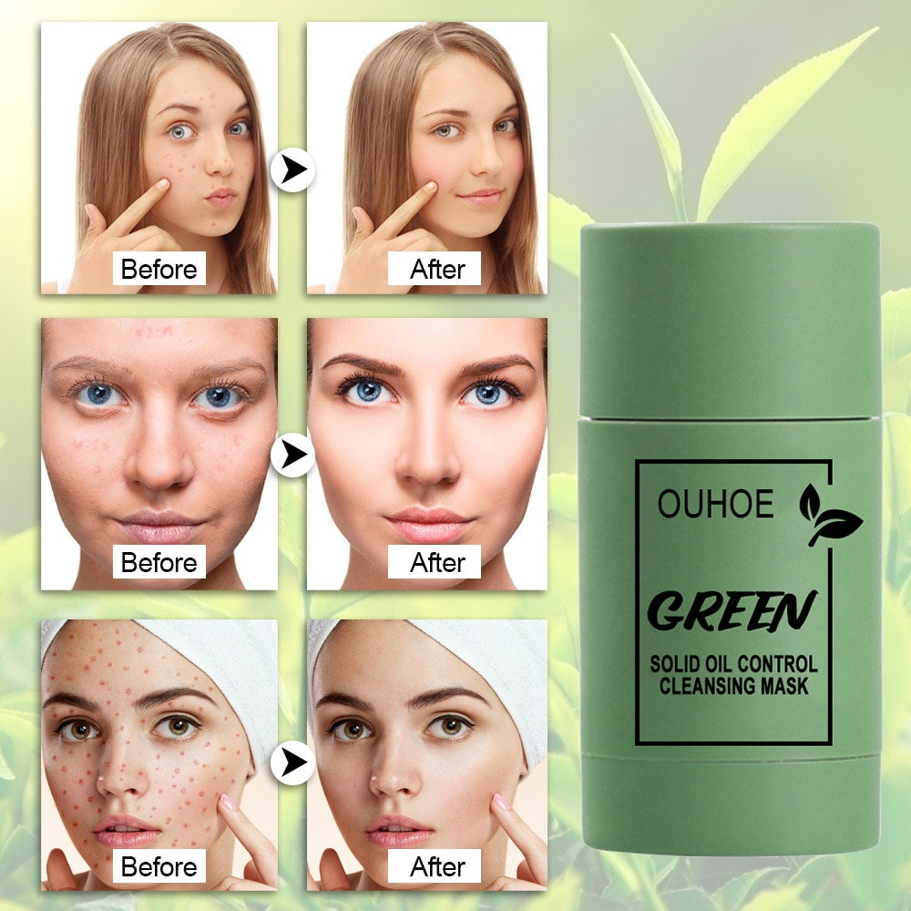 Green Tea Cleansing Solid Mask Purifying Clay Stick Mask Oil Control Anti-Acne Eggplant Whitening Beauty Facial Skin Care TSLM1
