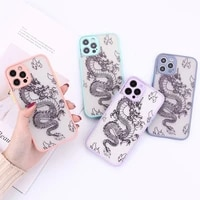 shockproof matte dragon pattern phone case for iphone 13 12 mini 11 pro max x xs max xr 7 8 6 6s plus se 2020 hard back cover