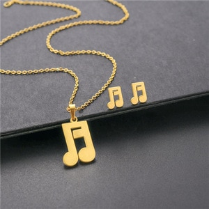Two Styles Musical Note Symbol Choker Necklace Earrings Set Dubai Gold Color Stainless Steel African Wedding Jewelry For Women