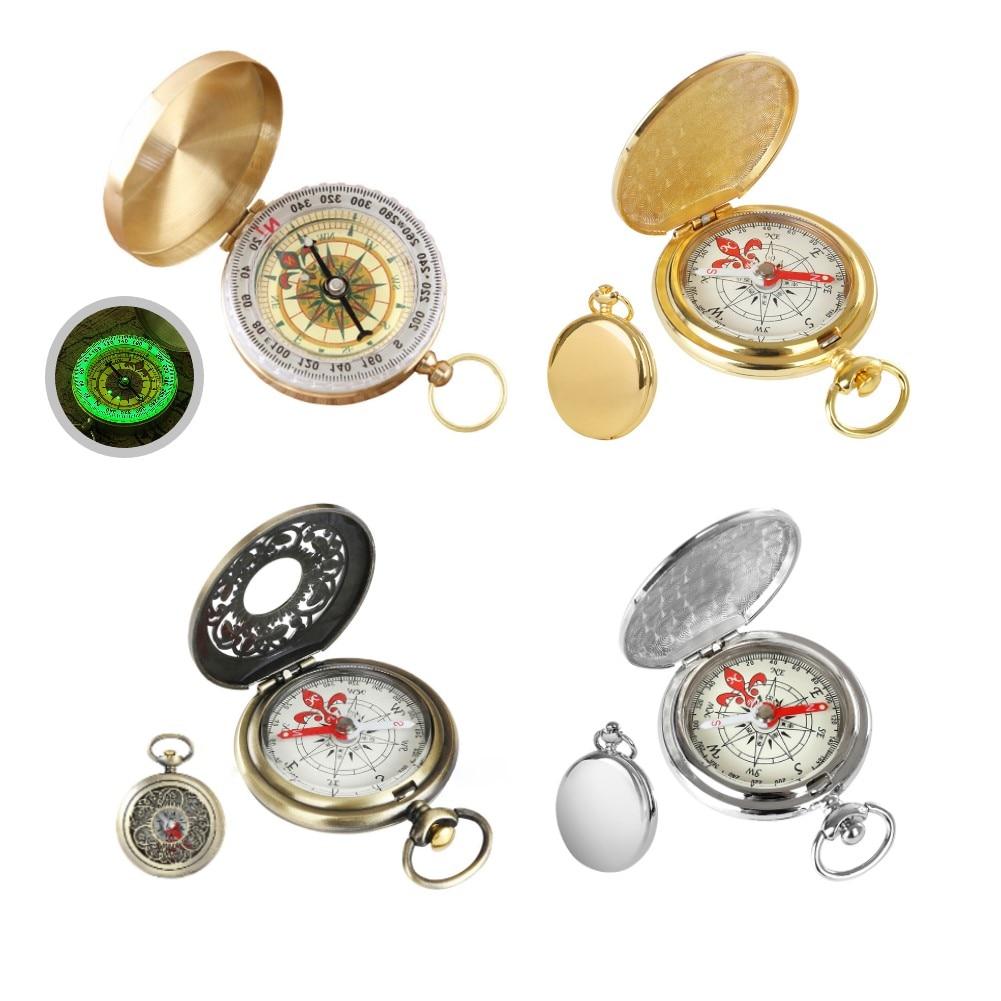Винтажный Бронзовый компас, карманные часы, компас, уличный инструмент, карманный компас для улицы, Портативный Компас для туризма, кемпинг...