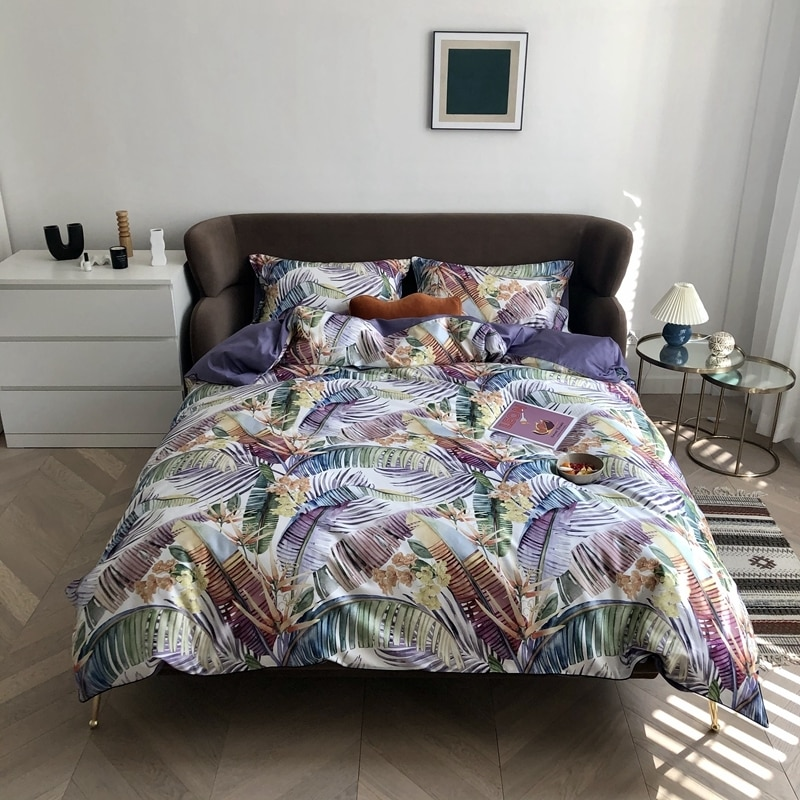 Folhas tropicais capa de edredão algodão egípcio macio de seda folha cama chique boho luxo conjunto rei rainha tamanho 4 pçs