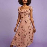 women vintage a line party dress square collar pink floral slit casual midi dress 2021 elegant summer dress vestidos clothing