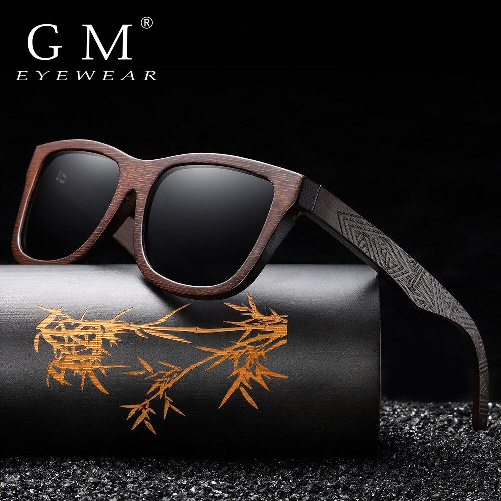 GM bambú Natural gafas de sol de madera hecho a mano polarizado revestimiento de espejo lentes gafas con caja de regalo