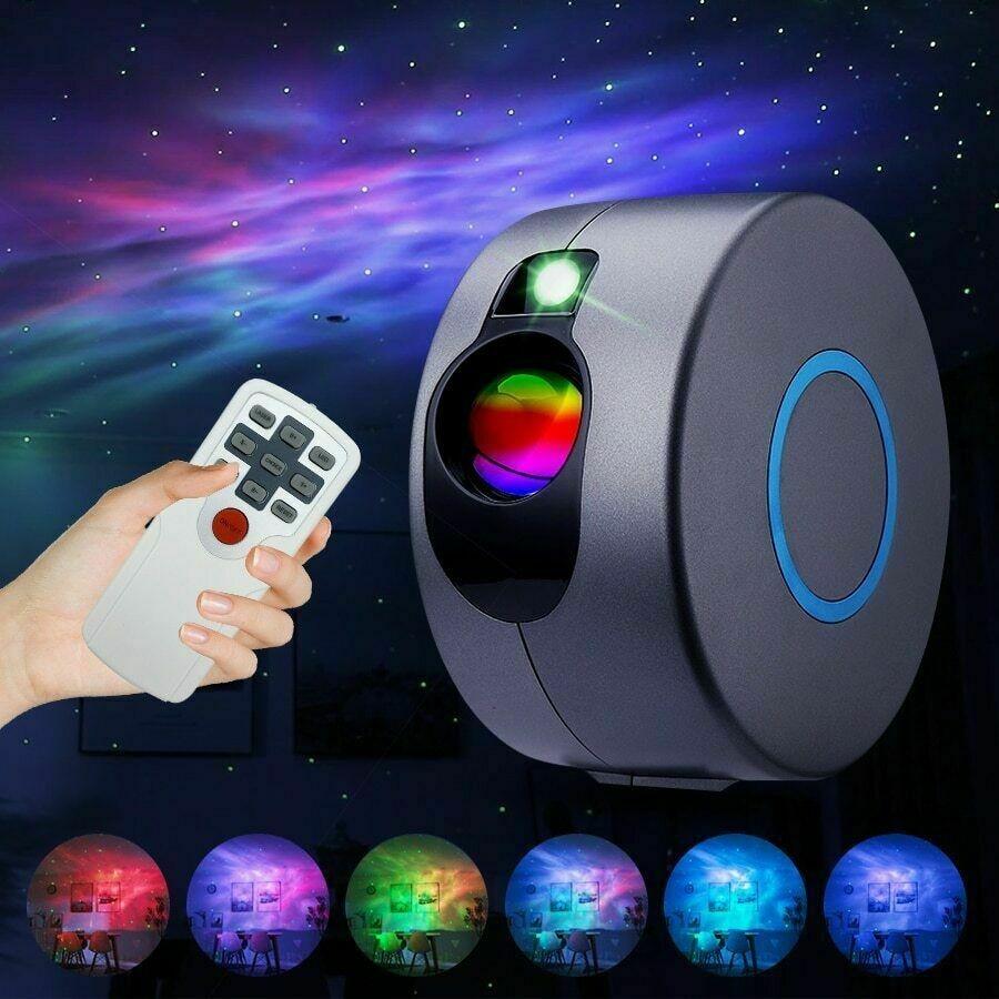 Proyector de luz de noche LED WAKYME cielo estrellado para decoración de dormitorio estrella de colores Luz de noche de luna lámpara intermitente Control remoto