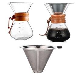1pc 400ml despeje sobre café dripper manual máquina de café sem papel filtro de aço inoxidável vidro jarra pot percoladores #2