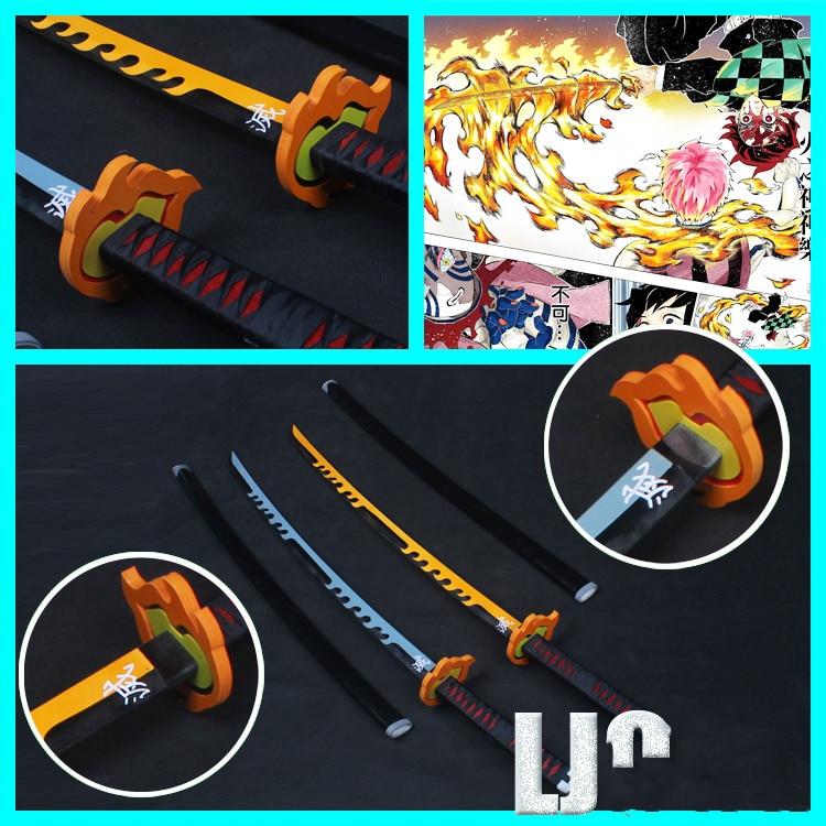 Espada de PVC arma Demon Slayer Rengoku Kyoujurou Cosplay Espada samurái armado Prop cuchillo Ninja Katana Espada juguetes para adolescentes adultos