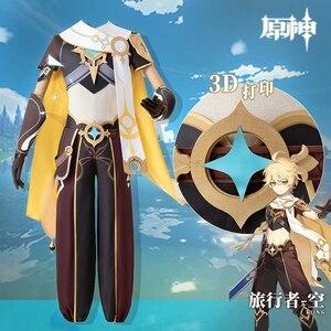 Anime Genshin Impact Traveler Paimon Game Suit Uniform Cosplay Costume Halloween Outfit For Women Men New 2021