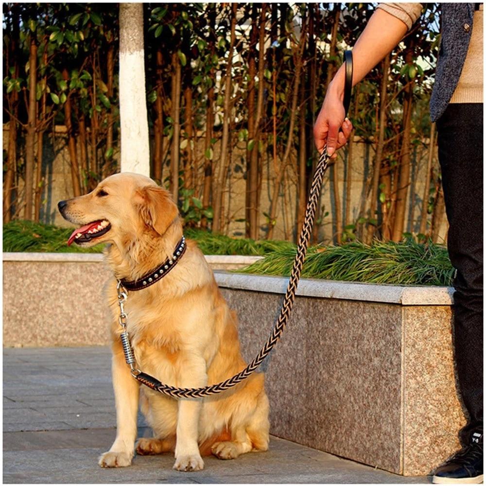 Heavy and Duty Large Dog Leash Genuine Leather Braided Dog Training Leash for Shepherd Bulldog Labrador Gold Retriever Pet Leads