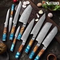 xituo stainless steel kitchen knives set damascus kitchen knives 9pcs japanese chef slicer nakiri paring bread boning knife gift