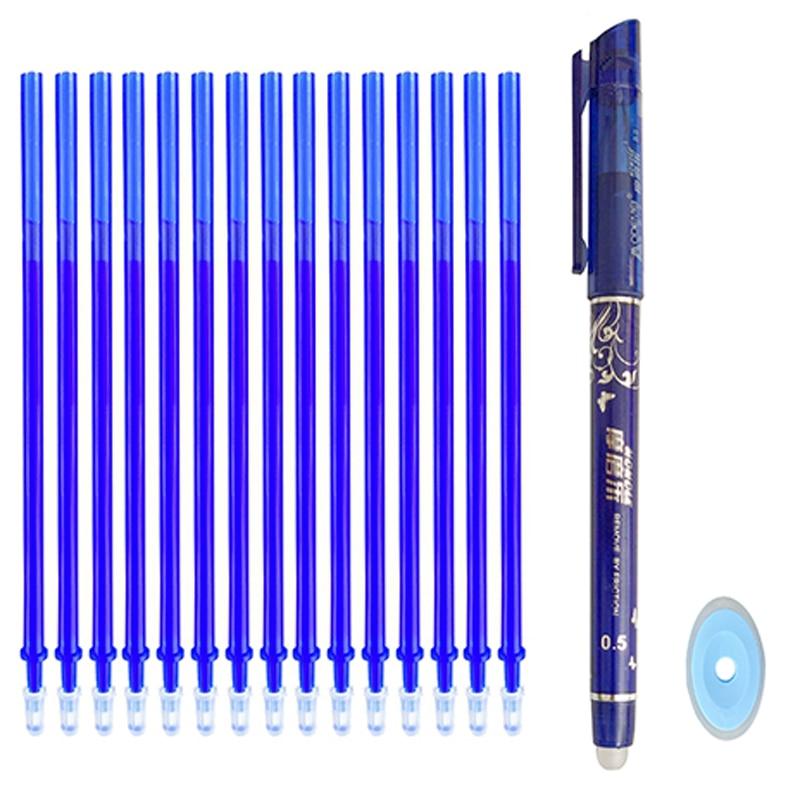 12/20 pièce/ensemble bureau Gel stylo effaçable recharge tige effaçable stylo lavable poignée 0.5mm bleu noir vert encre école écriture papeterie