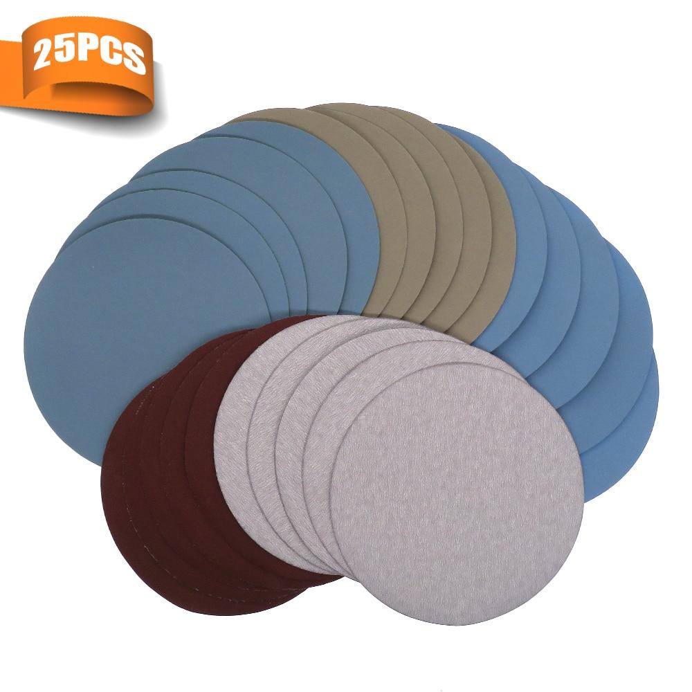 25pcs 125mm / 5 `` pollici dischi abrasivi hook loop carta vetrata grana 1000/2000/3000/4000/5000 rotondo carta vetrata disco foglio