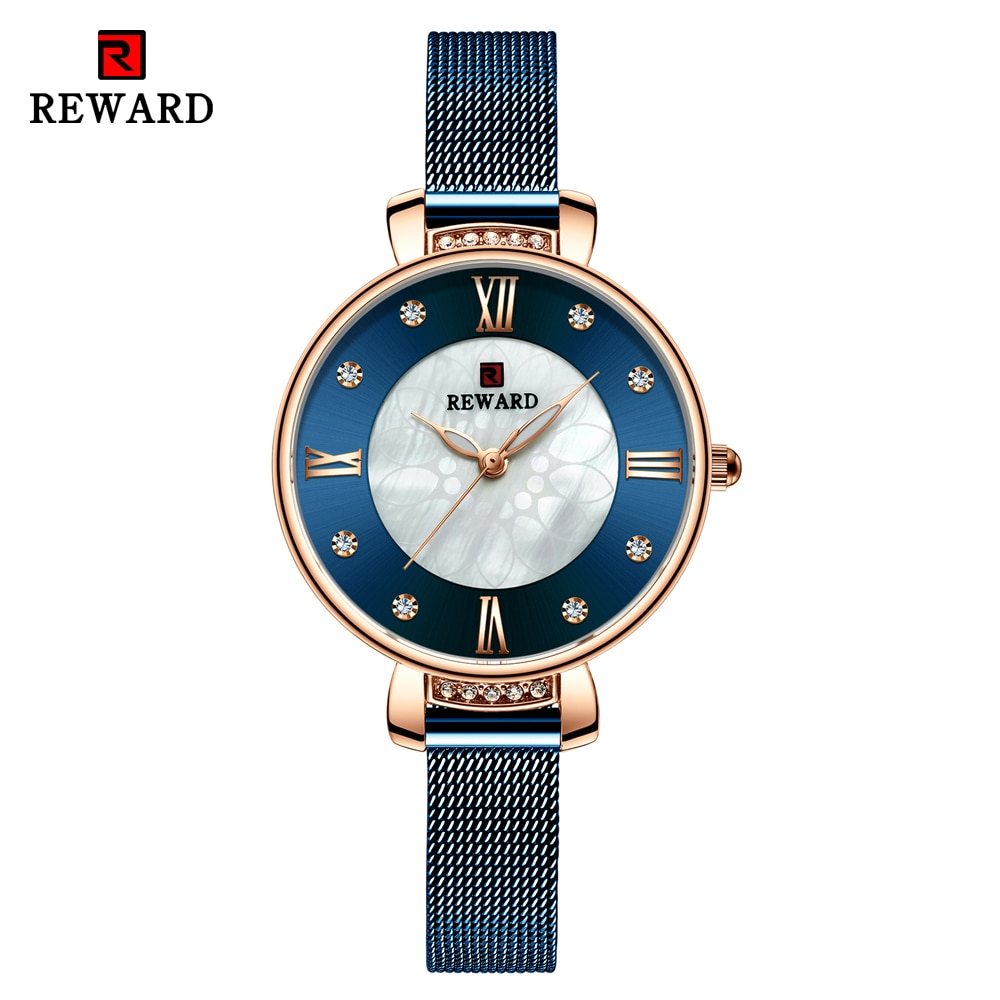 REWARD Fashion Luxury Womens Watch Rhinestone Steel Mesh Strap Quartz Wrist Watch Women Casual Waterproof Watches reloj mujer enlarge