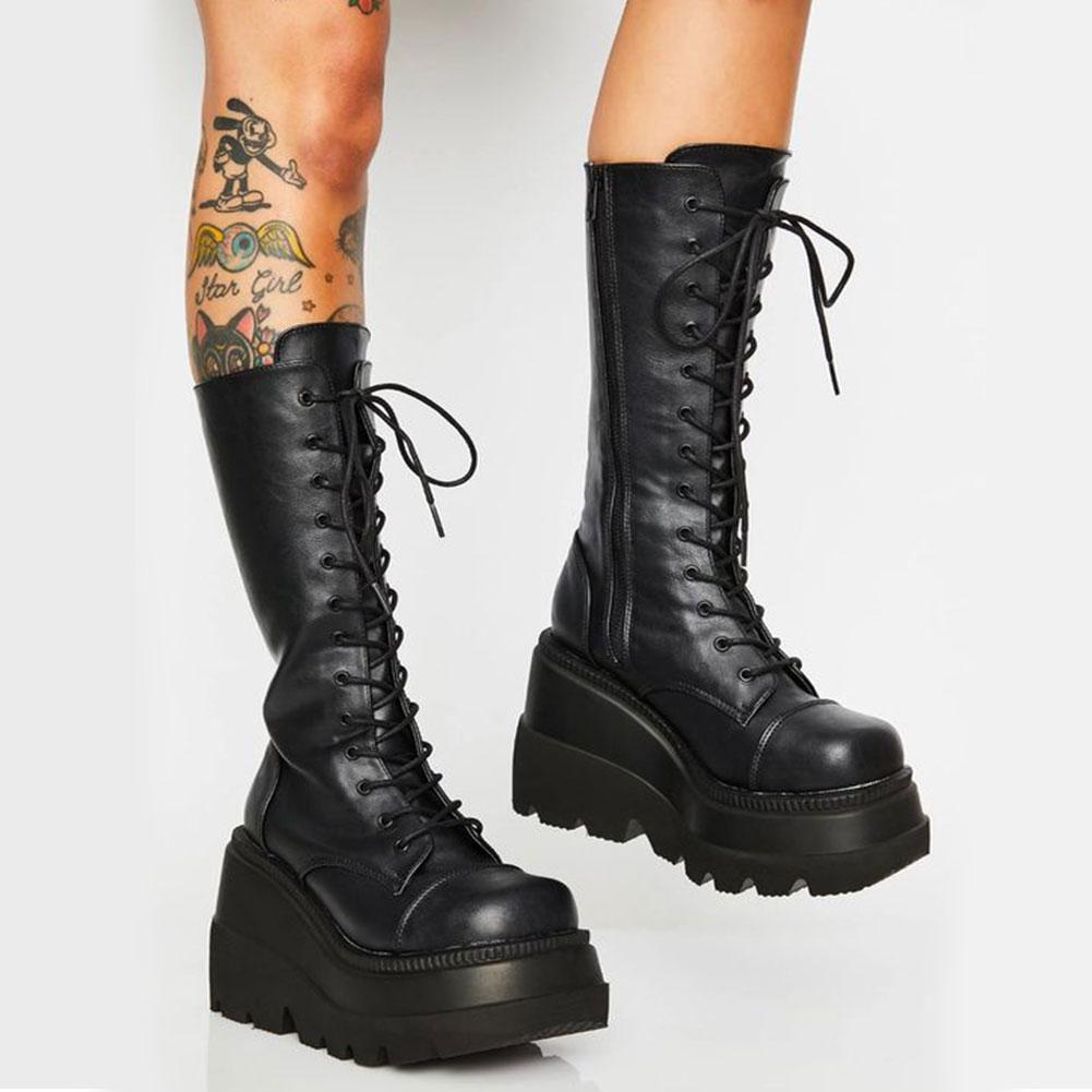 DORATASIA on sale luxury brand female platform boots wedges thick bottom women boots autumn winter punk cool shoes woman