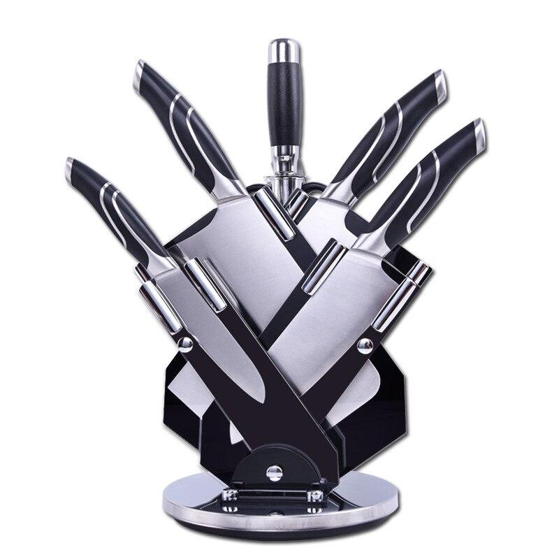 مجموعات المطبخ الساخن 7 قطعة دعوى الفولاذ المقاوم للصدأ السكاكين الشيف تقطيع سكين مقص أدوات الطبخ الإكسسوارات