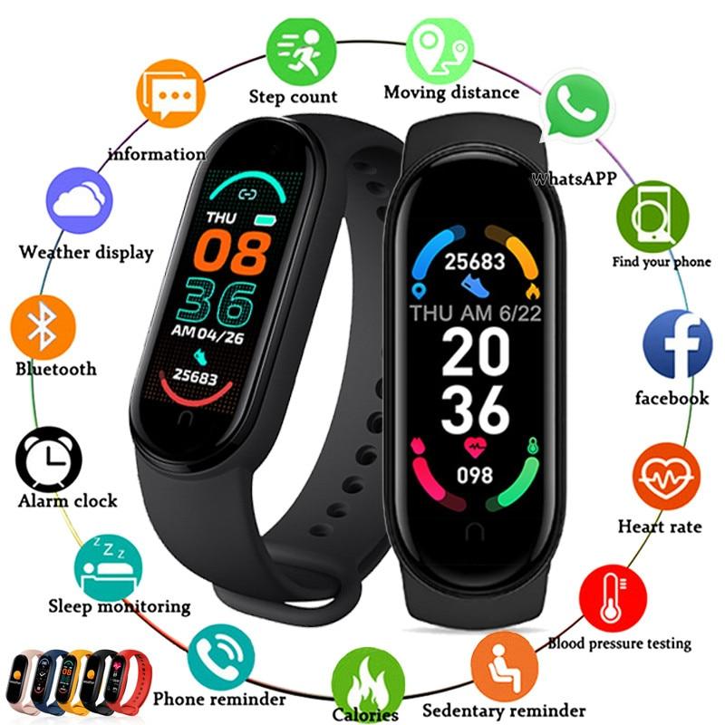 2021 M6 Smart Watch Women Men Sports Bracelet Bluetooth Smartwatch Heart Rate...