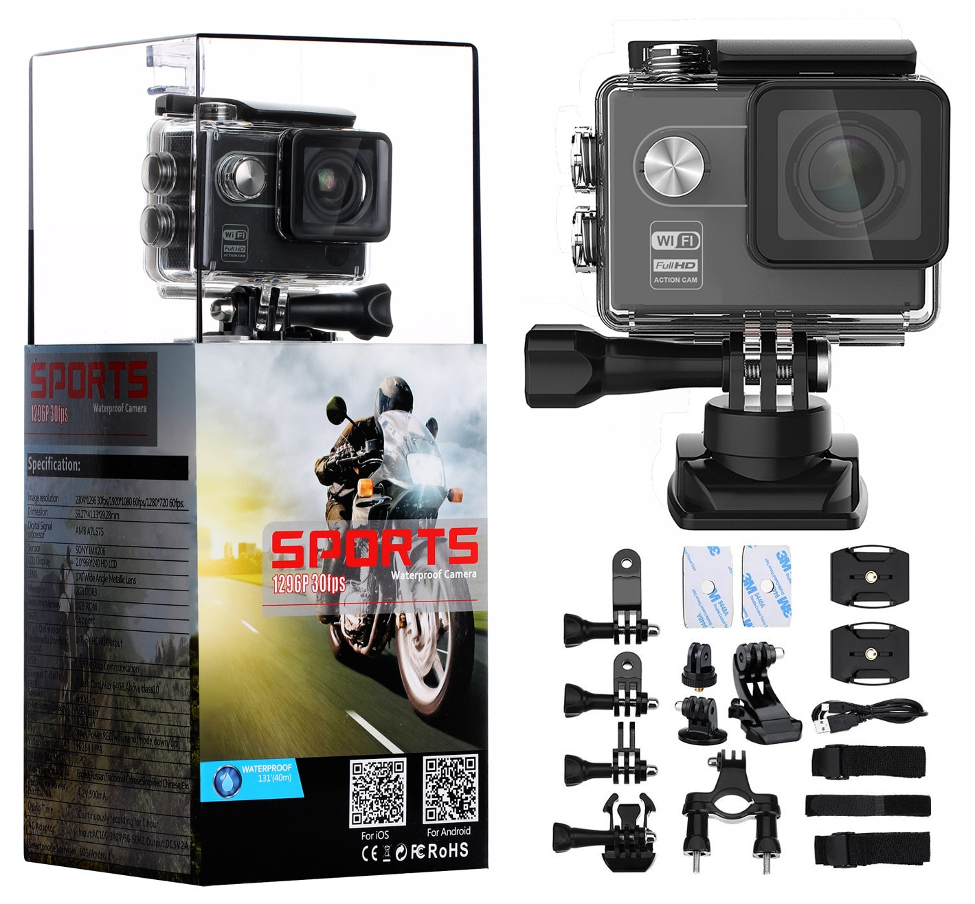 2-inch screen anba scheme HD sports DV smooth picture quality WiFi Sports Camera riding sports camera enlarge