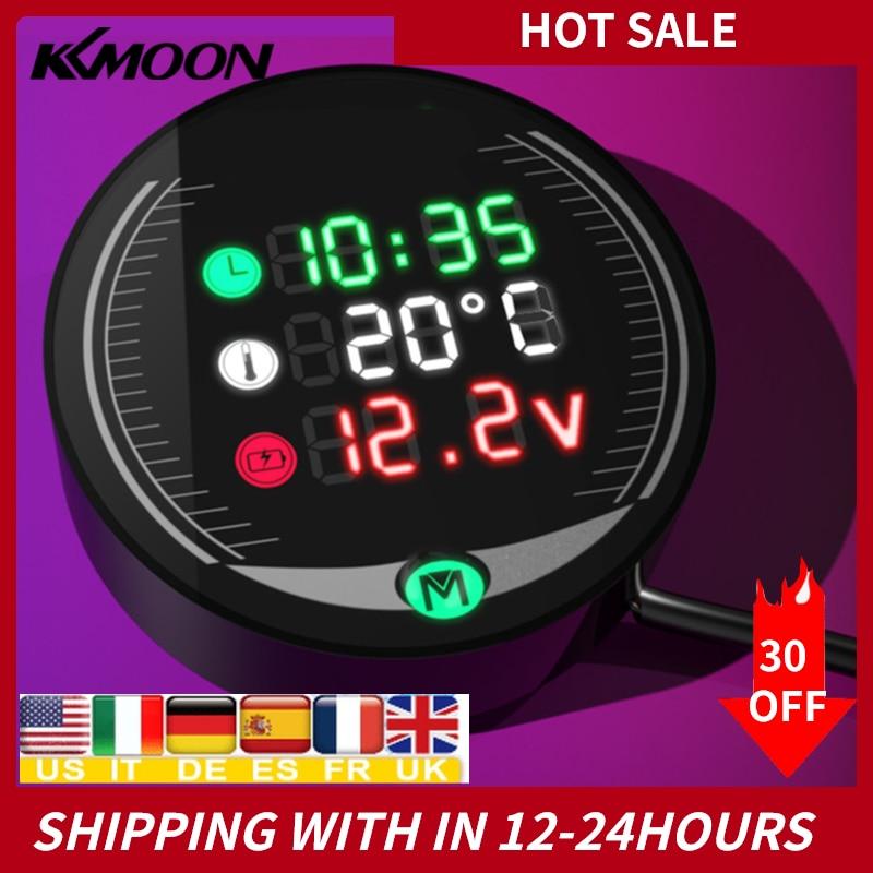 KKMOON impermeable 9-24V 3-en-1/5-en-1 visión nocturna motocicleta voltímetro pantalla mesa LED voltímetro en moto