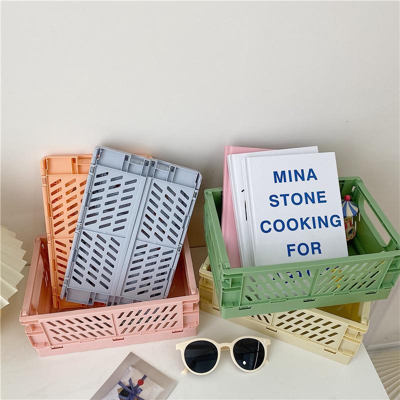 Cajón plegable de plástico, cestas de almacenamiento para artículos diversos, organizador de cosméticos, Caja de almacenaje para frutas, juguetes y alimentos