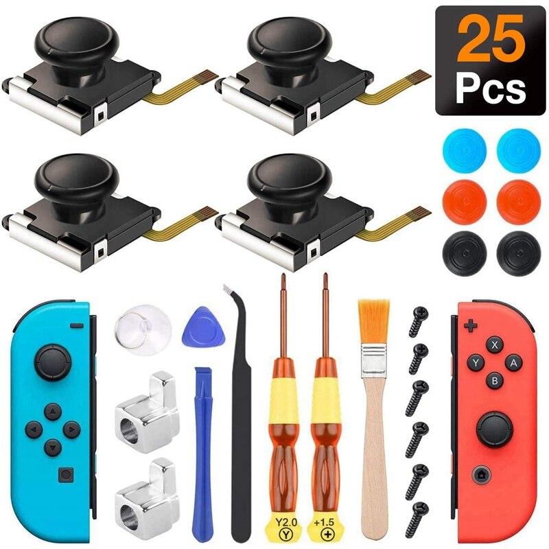 (Paquete de 4) Kit de reparación de varilla analógica 3D para Nintendo Switch Joy Con hebillas de Metal/destornillador/empuñaduras de pulgar