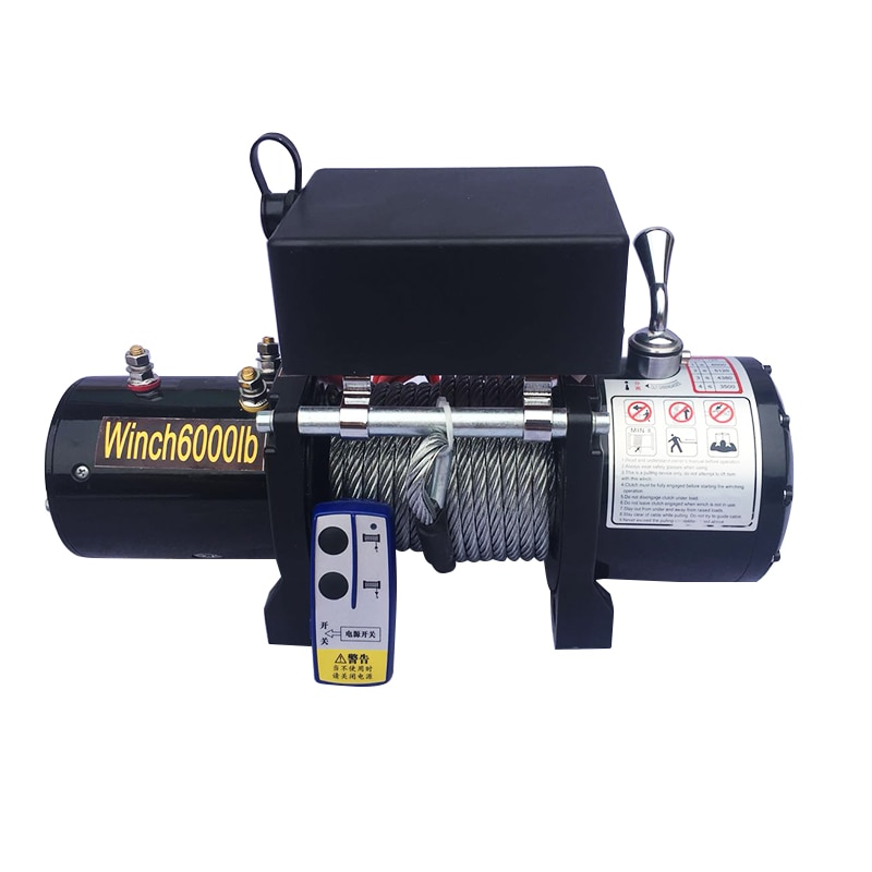 12V24V ATV Motor 6000LB Electric Winch Wire Rope Recycling Winch Traction Cable Traction Kit Outdoor Cross Country Crane