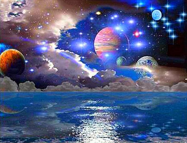 Pintura de diamante hermoso misterioso espacio y estrellas planeta DIY 5D diamante bordado Sistema Solar universo