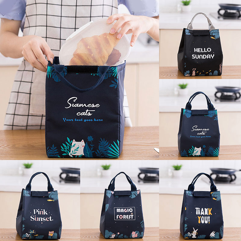 Waterproof Oxford Thickened Tote Insulation Bag Women Men Picnic Lunch Bags Forest Printed Fresh Food Bags Portable Cooler Bag