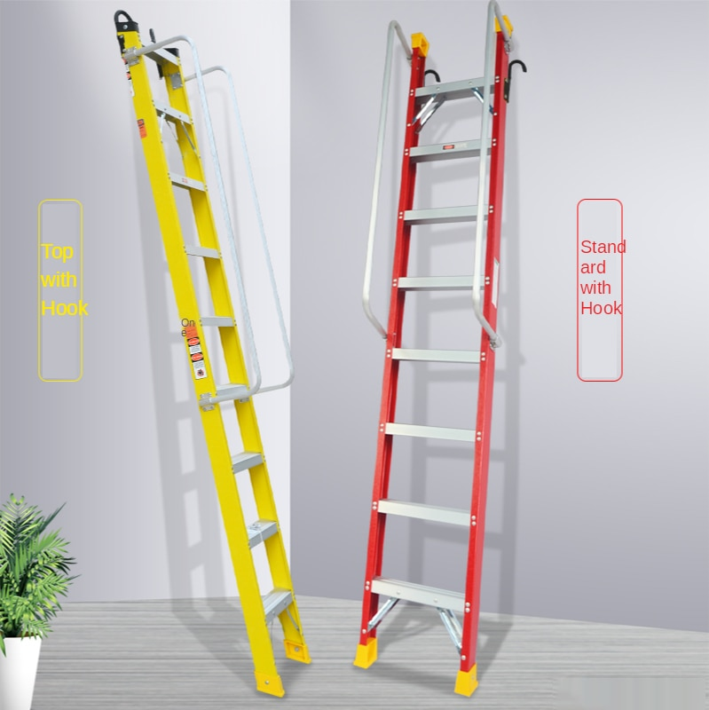 Indoor thickening engineering ladder mobile telescopic attic staircase household aluminum alloy attic custom handrail ladder