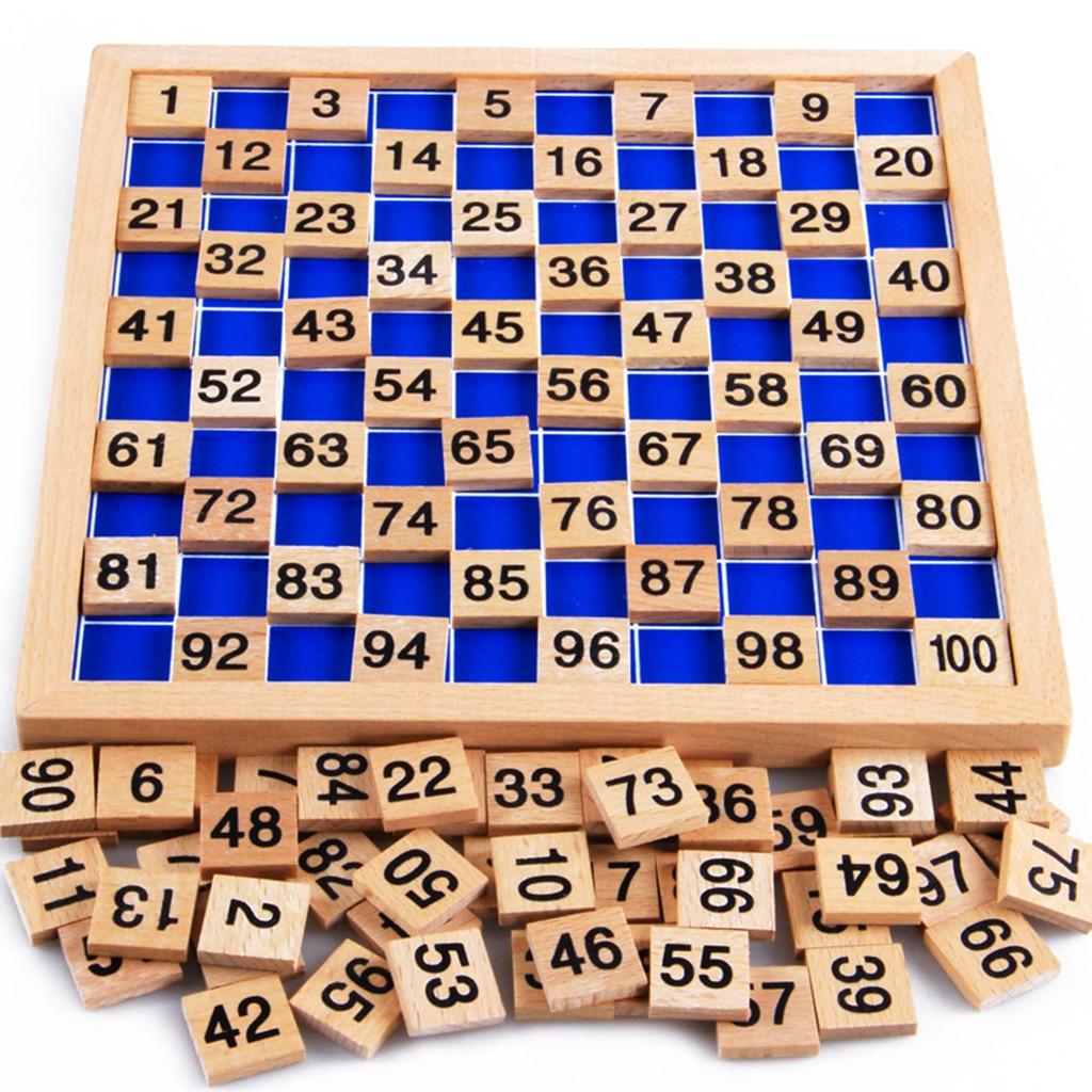 Montessori cien caja 1-100 contador de números, juguete matemático enseñanza educativa de madera para niños, desarrollo del bebé